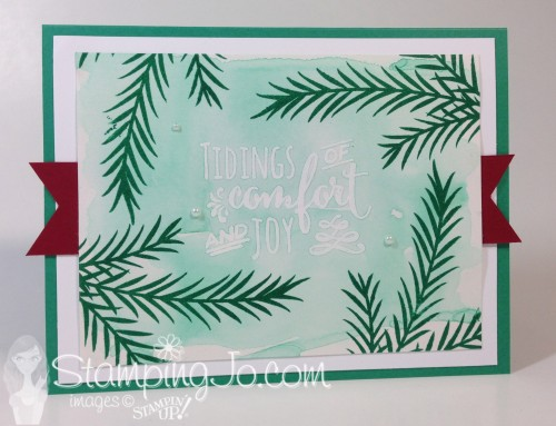 Christmas Pines, Stampin Up, Watercolor resist, Christmas card