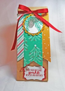 Christmas Pines, Gift Bag, Gift Packaging using cardmaking supplies