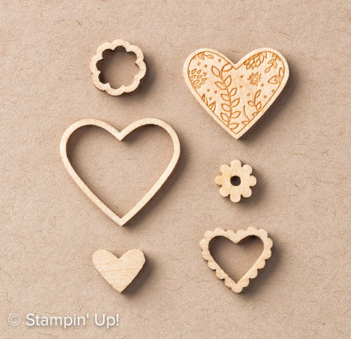 Sending Love Embellishments-142735, Stampin Up 2017 Occasions Catalogue, wood elements for cardmaking and scrapbooking