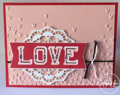 Double Take stamp set, Stampin Up, 2017 Occasions, Stamped Valentine card