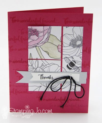 Inside the Lines Designer Series Paper, Stampin Up, Sale-A-Bration Free Product, Thank You card, hand stamped card