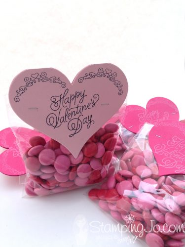 Sweet & Sassy Framelits, Sealed With Love, Valentine treat bag, treat bag topper, Stampin Up, hearts, candy, quick and easy, Valentine gift idea
