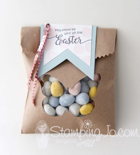 Easter treat bag using Bold Butterfly Framelits and Suite Sentiments stamp set