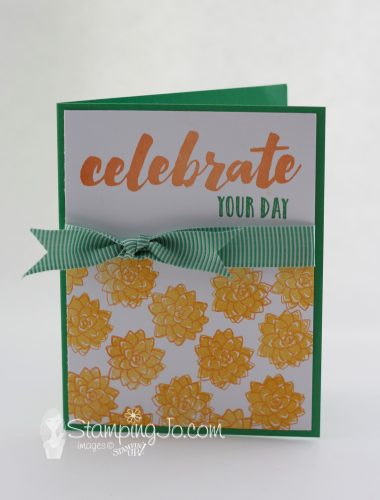 Happy Celebrations stamp set, Oh So Succulent stamp set, Stampin Up, hand stamped card, celebrate card