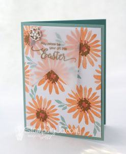 stamped Easter card, Blooms and Wishes, Suite Sentiments, Stampin Up