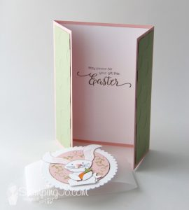 Gate fold card, Easter card idea, Foxy Friends and Fox Builder Punch bunny, Stampin Up