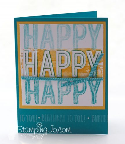 stamped birthday card using Happy Celebrations stamp set, Celebrations Duo Embossing Folder, Stampin Up