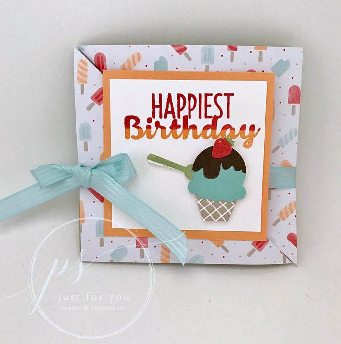 Cool Treats stamp set, Stampin Up, stamped birthday card, diagonal fold card