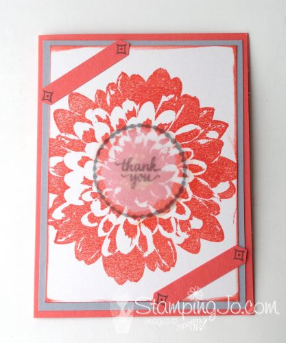 Definitely Dahlia stamp, Stampin Up, simple stamped thank you card