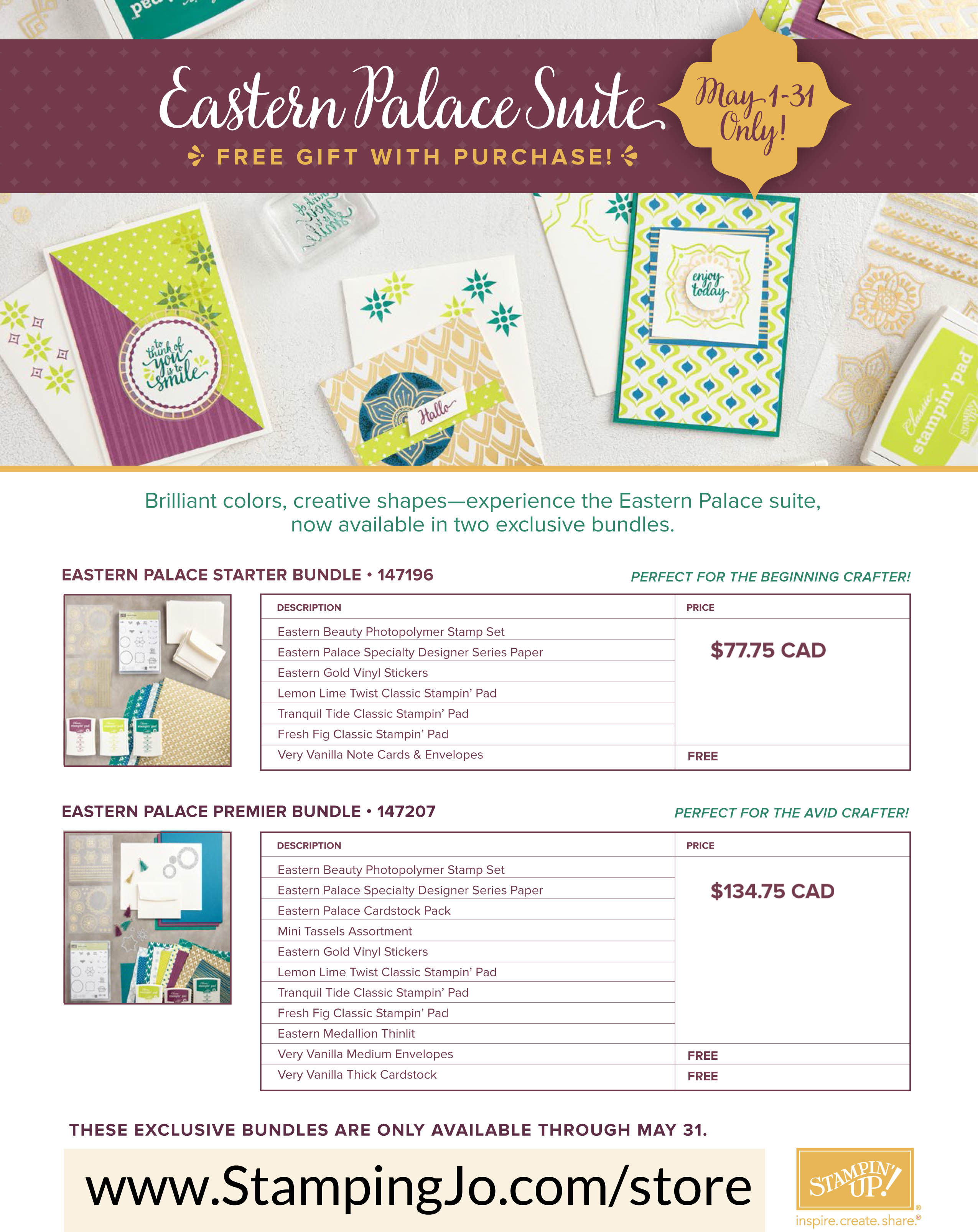 Eastern Palace Suite, Stampin Up, Limited Time Bundle offers with FREE Gift!