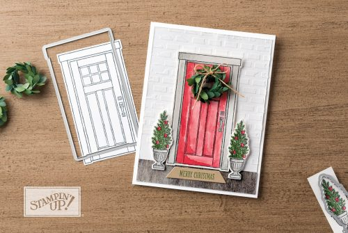 Embossing Paste on card using the At Home With You stamp set, Stampin Up, stamped Christmas card