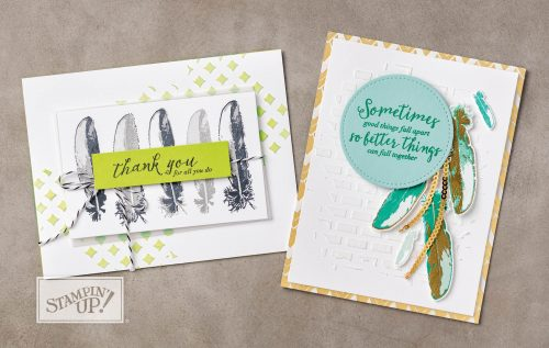 Embossing Paste on card using Feather Together stamp set, Stampin Up, stamped card ideas