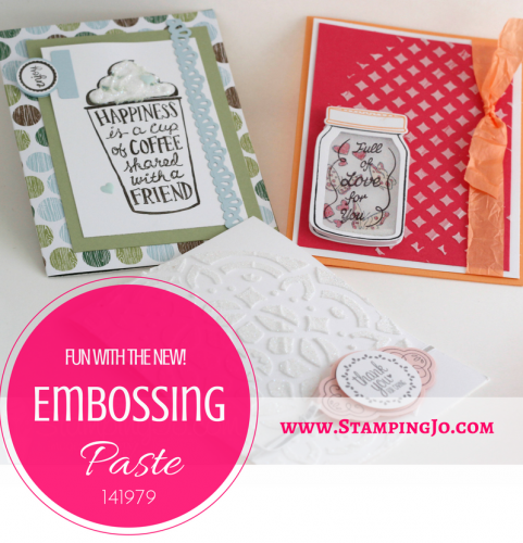 Create amazing texture on your handmade stamped cards using Stampin' Up's new Embossing Paste. Get more card ideas and purchase stamp supplies at www.StampingJo.com