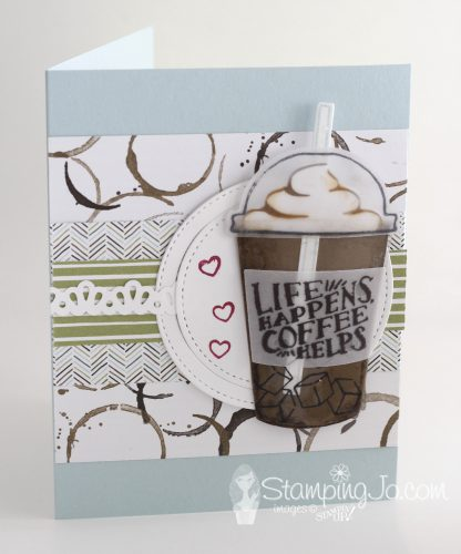 Get your coffee fix with the Coffee Cafe stamp set and matching Coffee Cups Framelits from Stampin Up, StampingJo.com