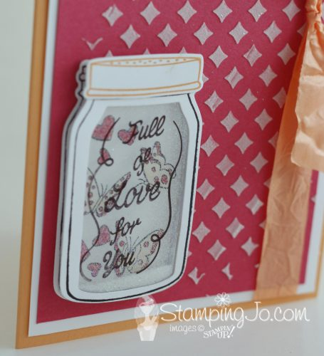 Learn to make this cute glitter filled shaker card using Stampin Up's Sharing Sweet Thoughts stamp set and Everyday Jar Framelits dies. Add a fun background with the embossing paste and Pattern Party Decorative Masks.