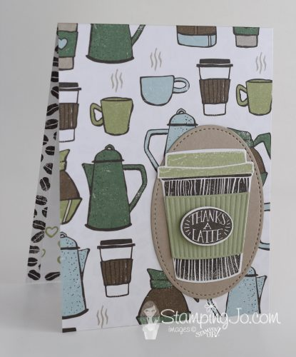 Hand stamped thank you card using Stampin Up Coffee Cafe stamp set and Coffee Break Designer Series Paper.