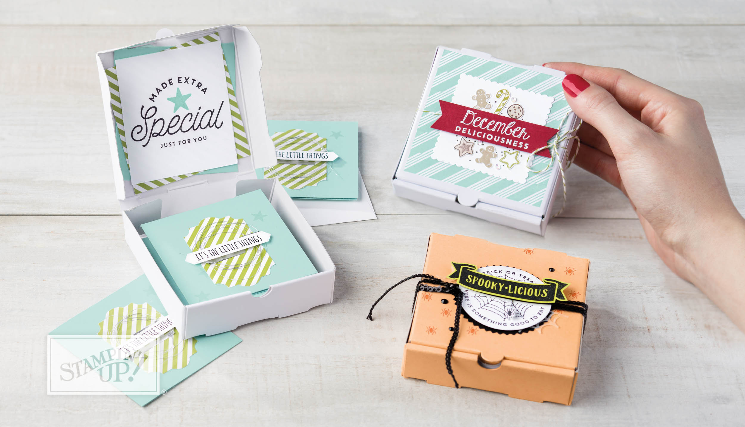 """Mini Pizza Boxes fit 3""""x3"""" cards, Stampin Up"""