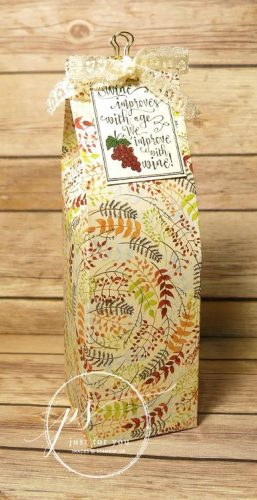 Hostess Gift, Bottle Bag, Handmade Gift Packaging, Stampin Up, Painted Autumn Designer Series Paper, Half Full stamp set
