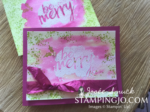 Watercolor background, watercoloring, emboss resist, stampin up card , Christmas card idea